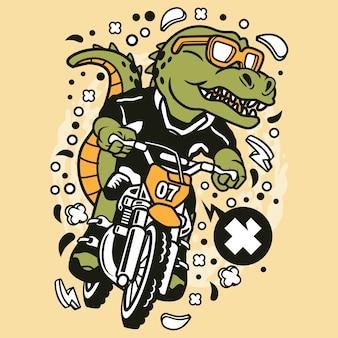 Trex motocross rider cartoon