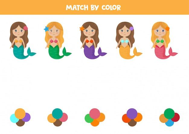 Tri des couleurs pour les enfants d'âge préscolaire. associez sirène et couleurs.