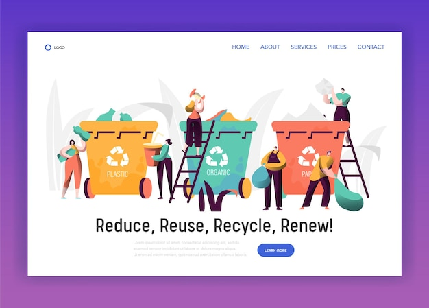 Tri des déchets organiques pour la page de destination de recyclage.
