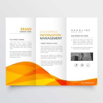 Tri fold brochure design modèle d'entreprise avec forme ondulée orange