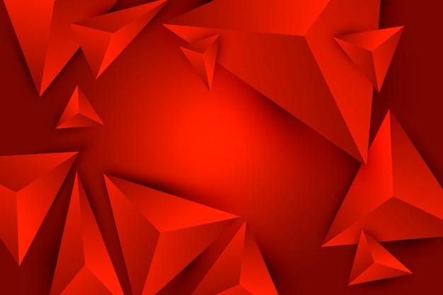 Triangle 3d fond rouge avec effet poly
