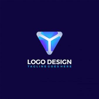 Triangle abstrait géométrique bouclier données logo concept