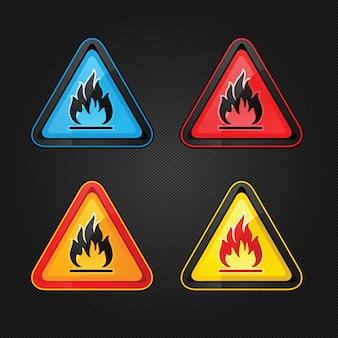 Triangle d'avertissement de danger symboles de jeu d'avertissement hautement inflammables