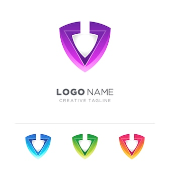 Triangle avec logo bouclier