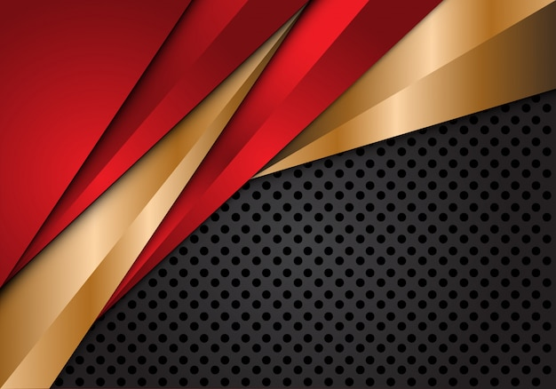 Triangle métallique or rouge sur fond de maille de cercle gris.