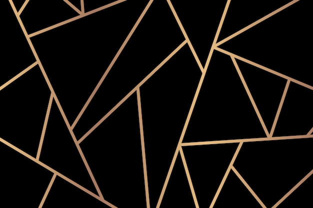 Triangle motif géométrique fond noir or