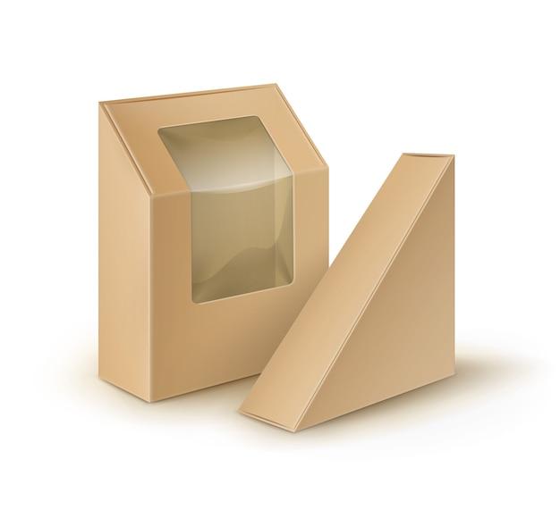 Le triangle de rectangle de carton blanc de brown emporte l'emballage de boîtes pour le sandwich