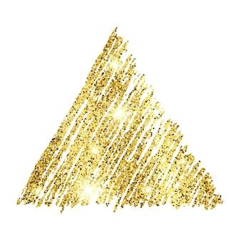 Triangle scintillant dessiné à la main de peinture dorée sur fond blanc. fond avec des étincelles d'or et un effet scintillant. espace vide pour votre texte. illustration vectorielle