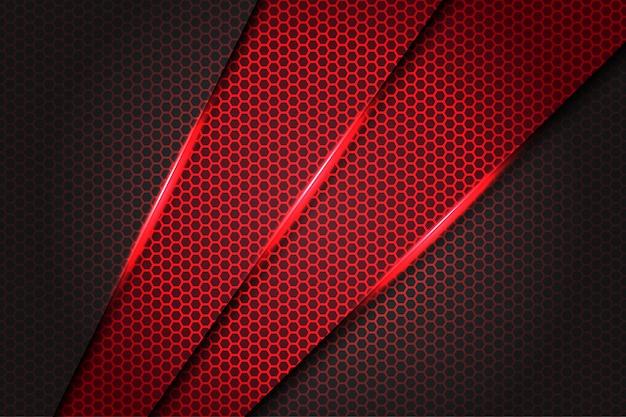 Triangle slash rouge abstrait métallique sur gris foncé avec un motif de maille hexagone design fond futuriste moderne