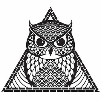 Triangle tribal motif hibou