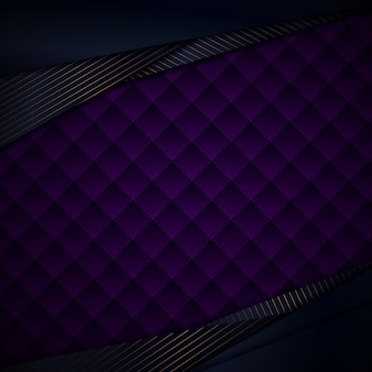 Triangles bleus abstraits avec fond violet lignes or