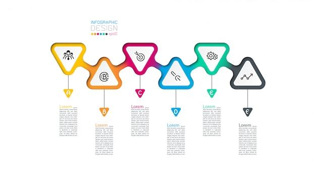 Triangles étiquette infographie avec 6 étapes par étapes.