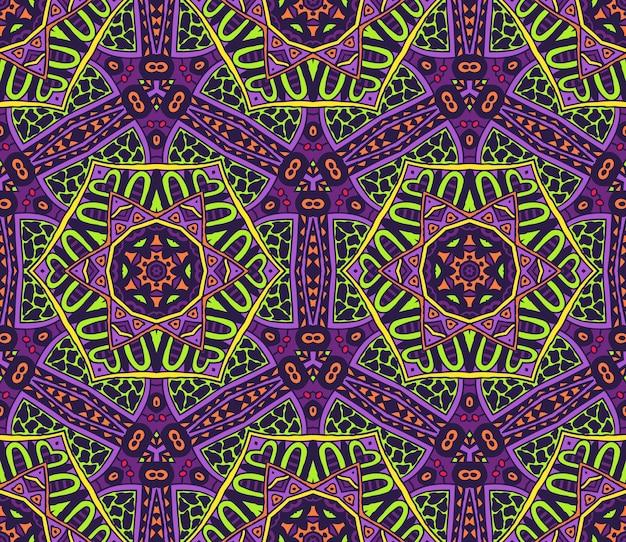 Tribal coloré festif motif vectoriel continu ethnique ornementales