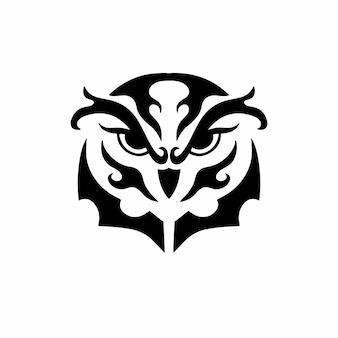Tribal hibou tête logo tatouage conception pochoir illustration vectorielle