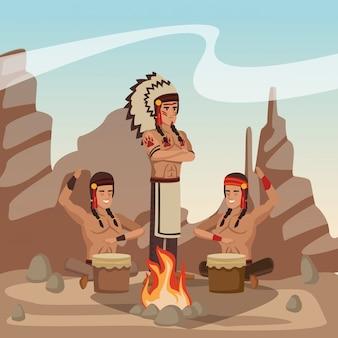 Tribu indienne américaine à la bande dessinée du village