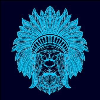 Tribu de tête de lion illustration