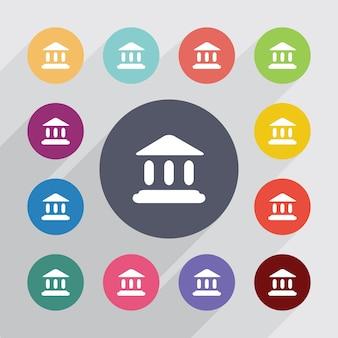 Tribunal, jeu d'icônes plat. boutons colorés ronds. vecteur