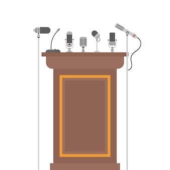 Tribune podium pour haut-parleurs avec microphones