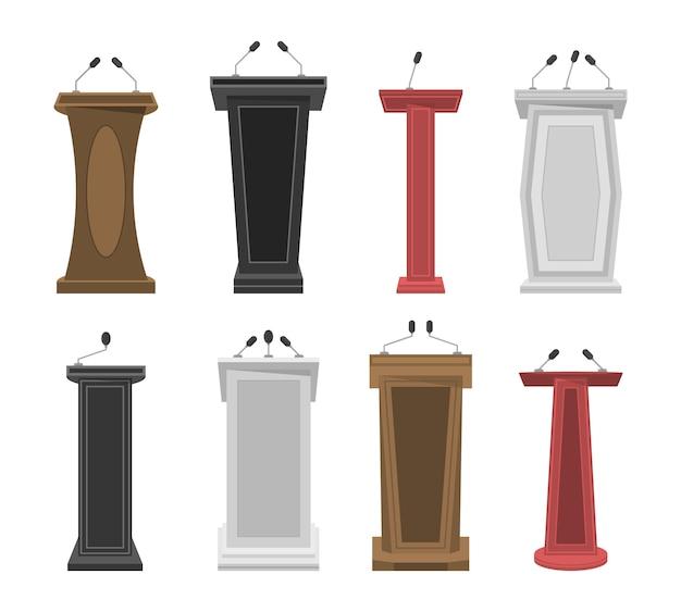 Tribune, scène, tribune ou débat tribune podium avec microphones. collection de piédestal 3d réaliste, tribune en bois et podium avec microphone pour la parole. présentation d'affaires ou conférence. .