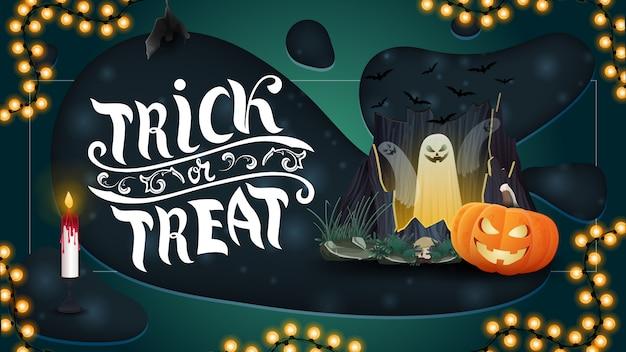 Trick or treat, bannière de voeux horizontale avec portail avec fantômes et citrouille jack