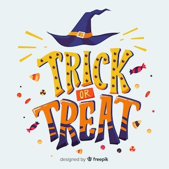 Trick or treat conception de lettrage d'halloween