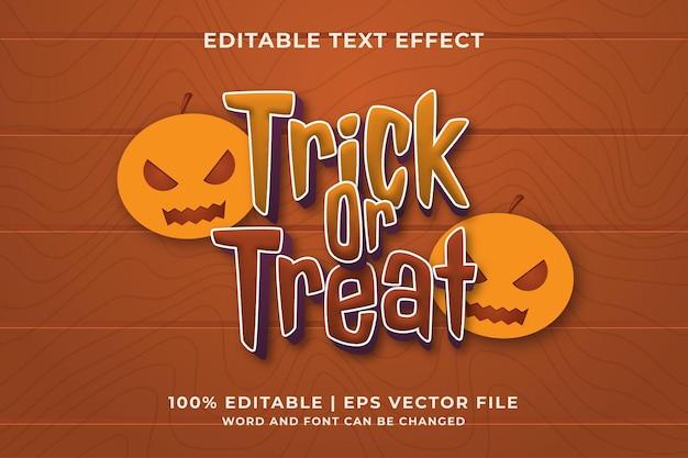 Trick or treat effet de texte vecteur premium
