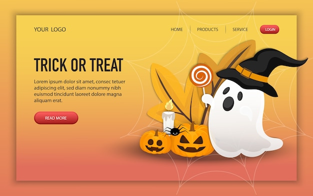 Trick or treat halloween site web design, modèle de page, mise en page d'accueil