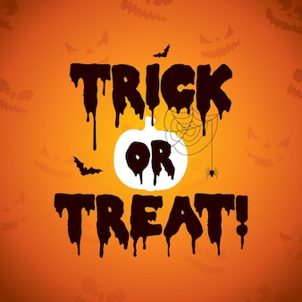 Trick or treat illustration d'halloween avec des chauves-souris volantes effrayantes de citrouille et d'araignée sur orange...