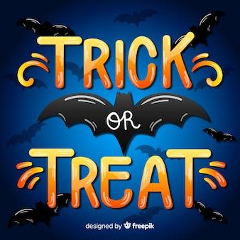 Trick or treat lettrage avec chauve-souris noire