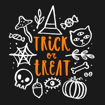 Trick or treat lettrage dessiné à la main. illustration vectorielle de griffonnage.