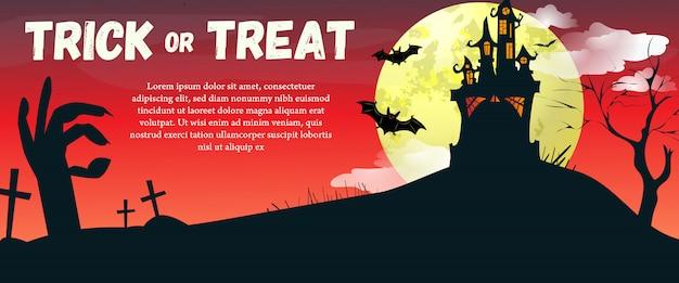 Trick or treat lettrage avec lune et château