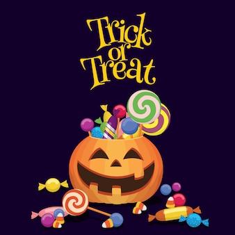 Trick or treat panier de citrouille rempli de bonbons