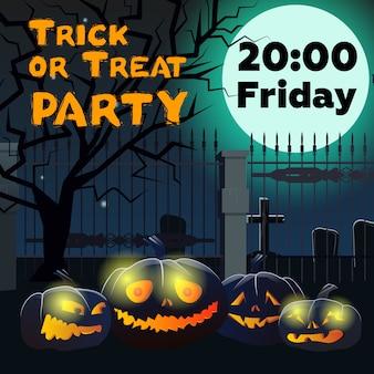 Trick or treat party lettrage avec citrouilles et cimetière