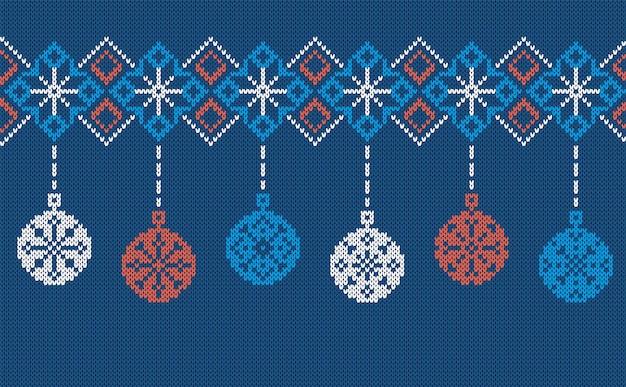 Tricoter une bordure sans couture avec des boules. illustration vectorielle.