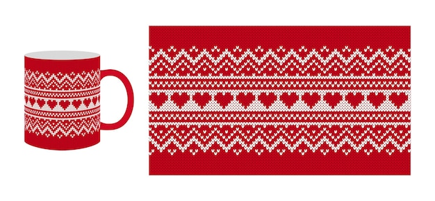 Tricoter la texture de la saint-valentin avec des hérats. modèle sans couture. pull en tricot rouge de noël. impression de noël.