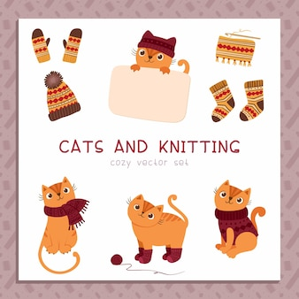 Tricots pour chats illustrations vectorielles à plat mis de mignons chatons ludiques portant une écharpe de chandail à la main