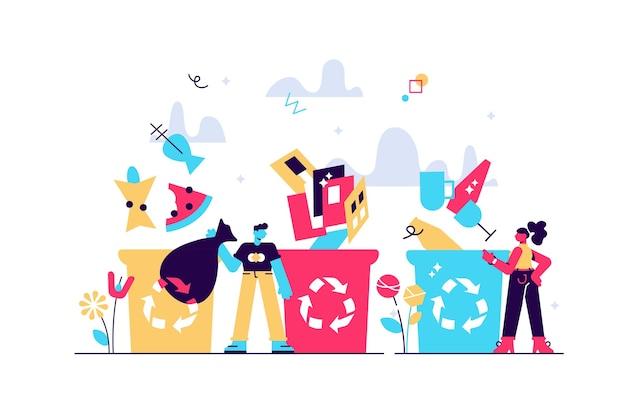 Trier les poubelles pour séparer les déchets et les ordures