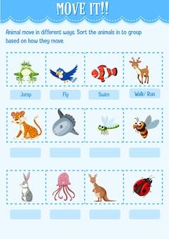 Triez l'animal dans le groupe en fonction de la façon dont il déplace la feuille de travail pour la maternelle
