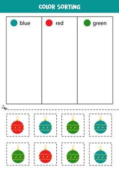 Triez les boules de noël par couleurs. apprendre les couleurs pour les enfants.