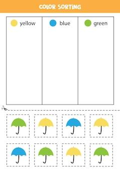 Triez les parapluies par couleurs. apprendre les couleurs pour les enfants.