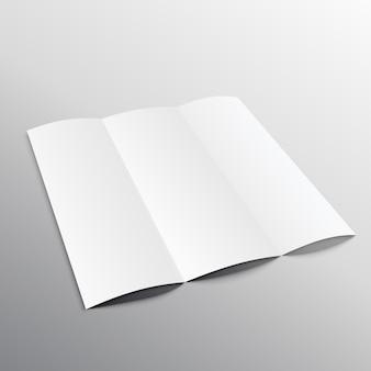 Trifold blanc conception brochure maquette en perspective