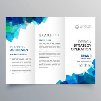 Trifold business modèle brochure de mise en page avec des formes abstraites bleu