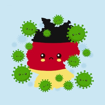 La triste allemagne mignonne a attaqué une infection à coronavirus. illustration de personnage de dessin animé de style plat