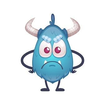 Triste bête offensée de couleur bleue avec de grands yeux et illustration de dessin animé de cornes