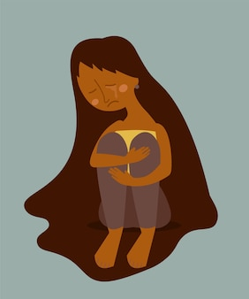 Triste femme solitaire qui pleure assis sur le sol. personnage féminin afro-américain dans la dépression, le chagrin, la tristesse. illustration de dessin animé.