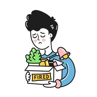 Triste jeune homme tenant des trucs en boîte avec signe tiré