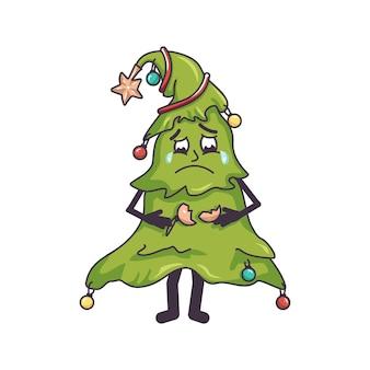 Triste sapin de noël qui pleure avec des larmes dans les yeux et un jouet cassé dans ses mains décoration festive pour...