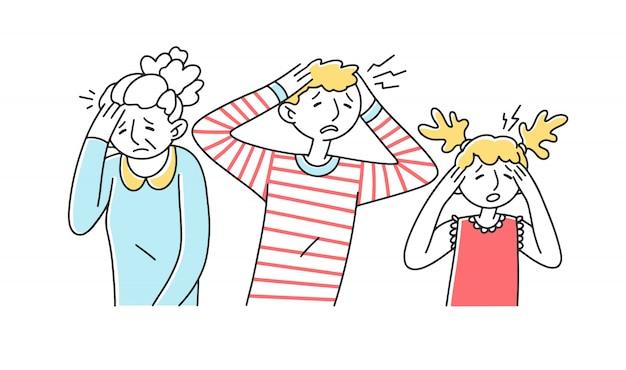 Tristes désespérés souffrant de migraine