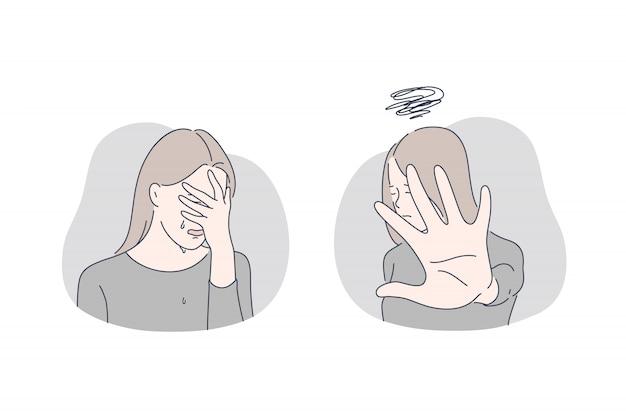 Tristesse, chagrin, concept de mauvaise humeur