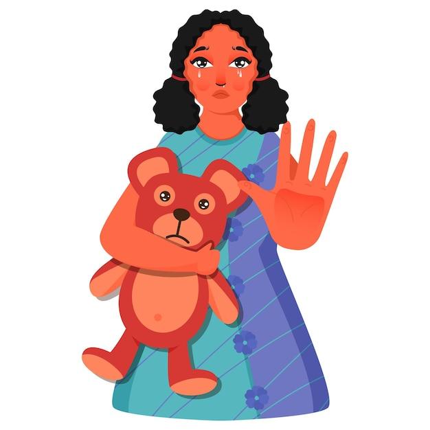 Tristesse jeune fille tenant ours en peluche avec geste d'arrêt sur blanc
